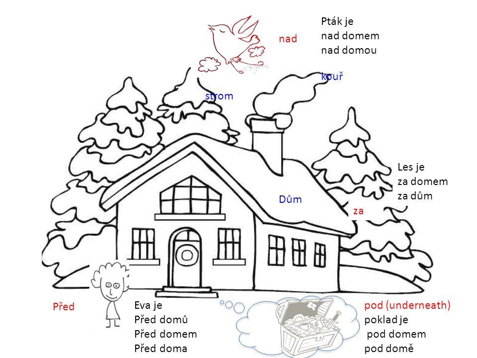 Před za nad Pták je nad domem nad domou Les je za domem za dům Eva je Před domů Před domem Před doma pod (underneath) poklad je pod domem pod domě Dům kouř strom