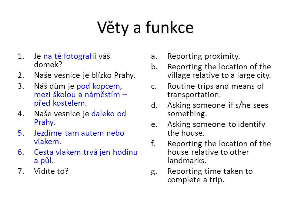 Věty a funkce 1.Je na té fotografii váš domek. 2.Naše vesnice je blízko Prahy.