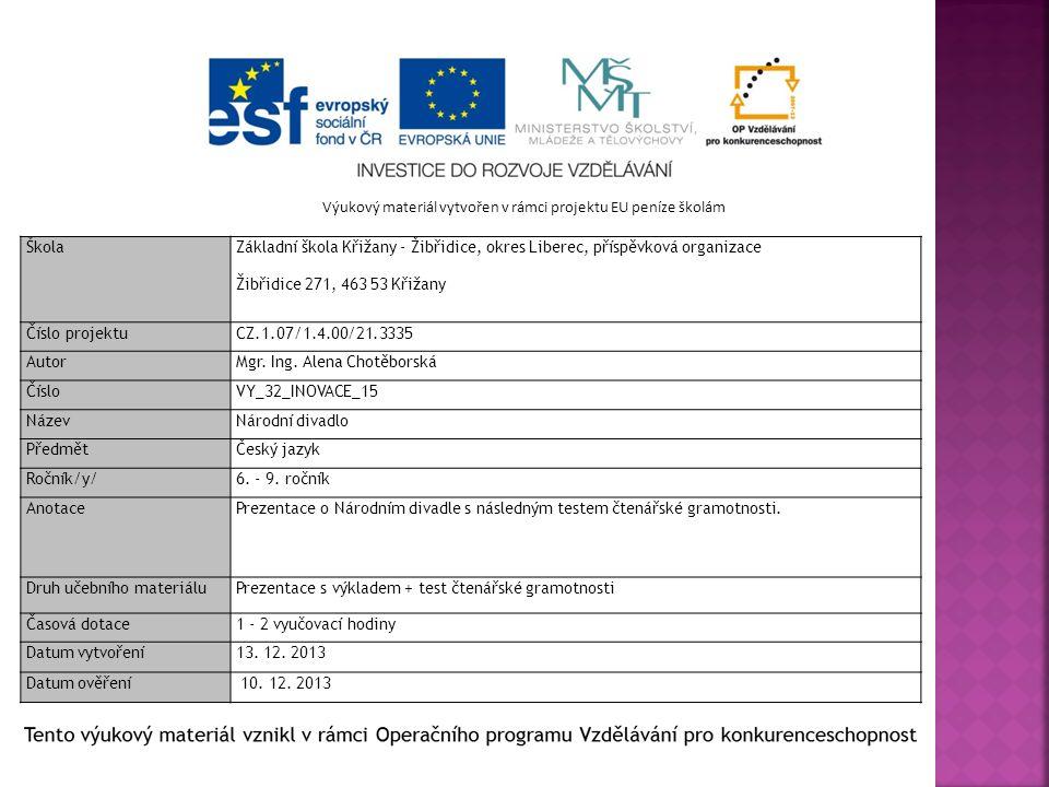 Výukový materiál vytvořen v rámci projektu EU peníze školám Škola Základní škola Křižany - Žibřidice, okres Liberec, příspěvková organizace Žibřidice