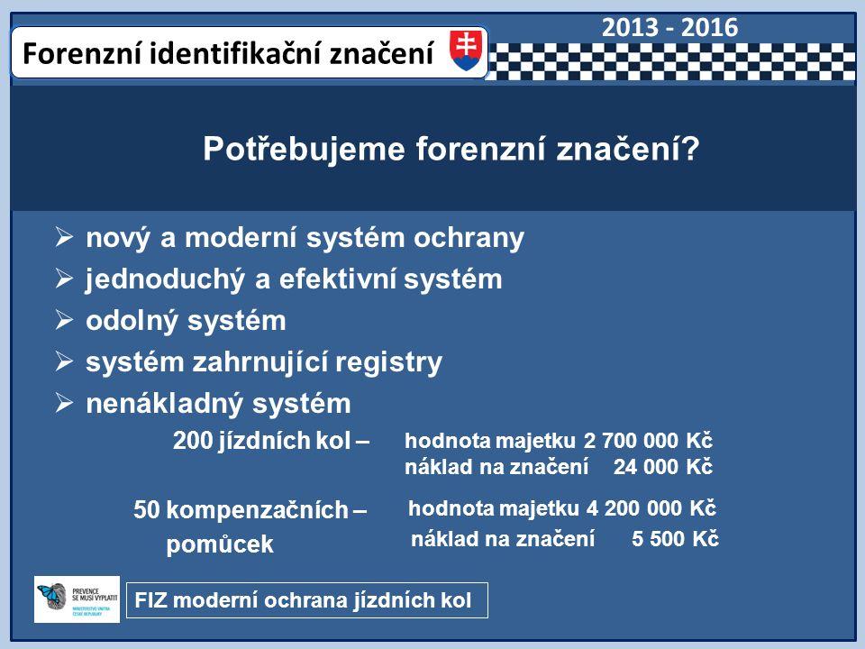  nový a moderní systém ochrany  jednoduchý a efektivní systém  odolný systém  systém zahrnující registry  nenákladný systém 200 jízdních kol – 50 kompenzačních – pomůcek Potřebujeme forenzní značení.
