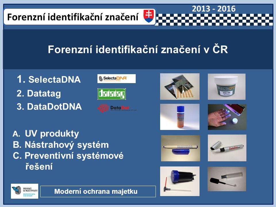 1. SelectaDNA 2. Datatag 3. DataDotDNA Forenzní identifikační značení v ČR A.