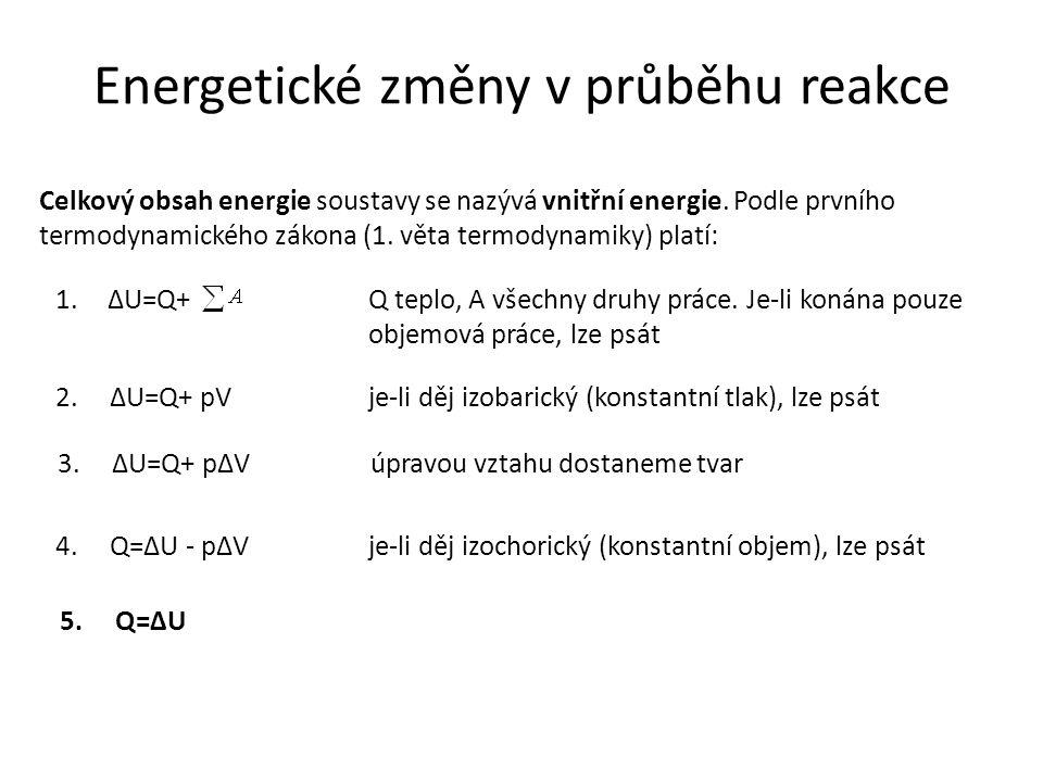 Energetické změny v průběhu reakce Celkový obsah energie soustavy se nazývá vnitřní energie.