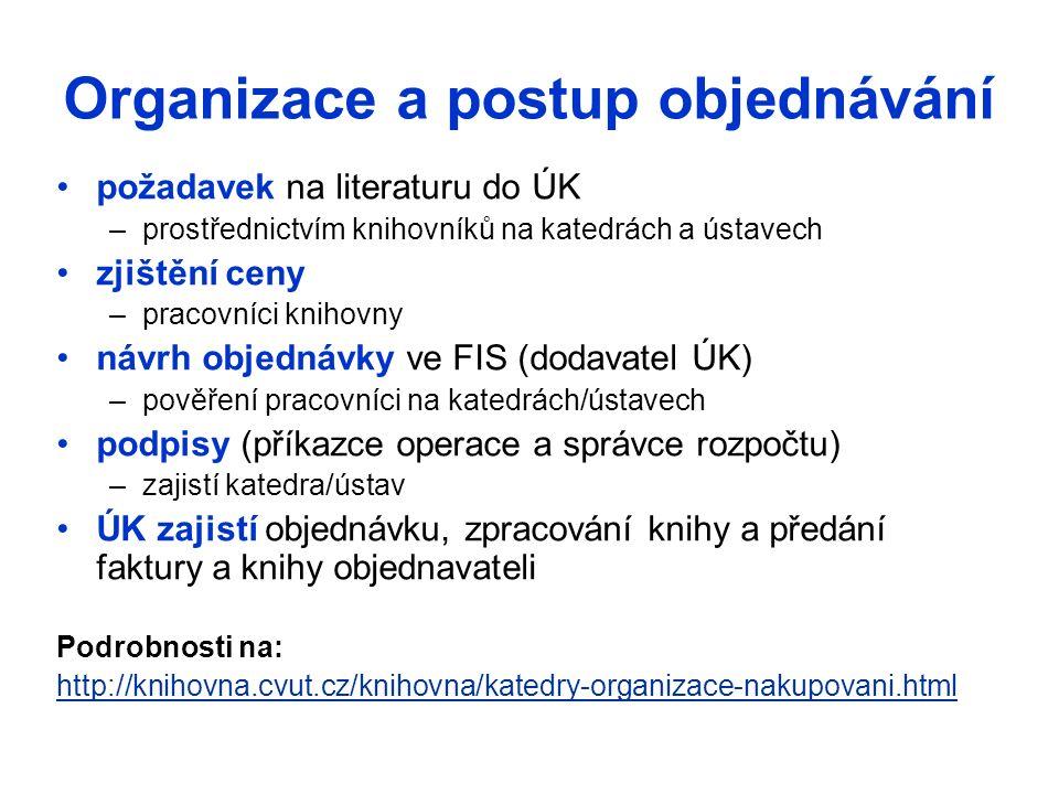 Nákup zahraničních knih Objednávka ze zahraničního vydavatelství –k ceně připočítat poštovné a poplatky bance –celní řízení pro zásilky ze zemí mimo EU, DPH z celní hodnoty (ceny knihy) Objednávka přes distribuční firmu –českou – k ceně připočítat poštovné –zahraniční –k ceně připočítat poštovné a poplatky bance –celní řízení pro zásilky ze zemí mimo EU, DPH z celní hodnoty (ceny knihy)