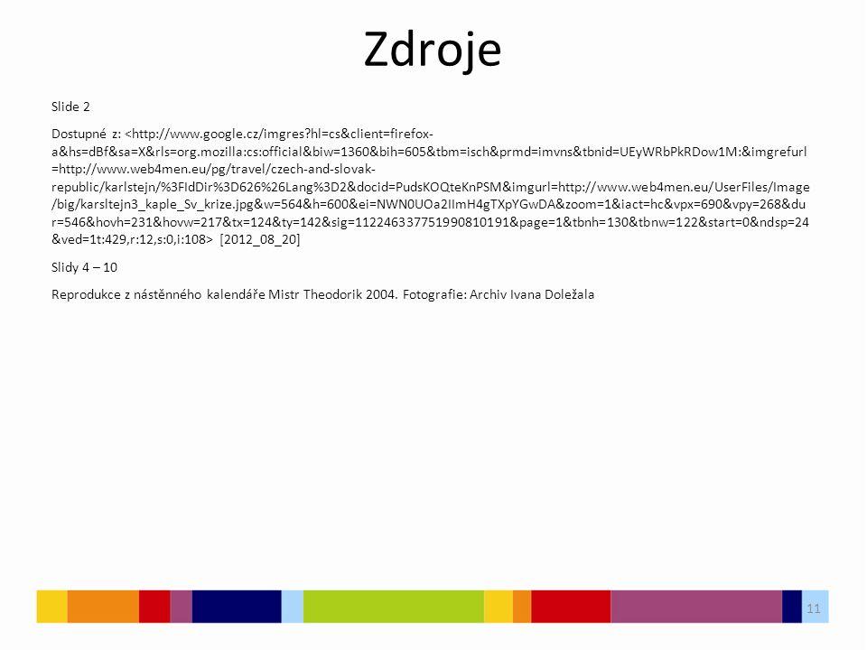 Zdroje Slide 2 Dostupné z: [2012_08_20] Slidy 4 – 10 Reprodukce z nástěnného kalendáře Mistr Theodorik 2004.