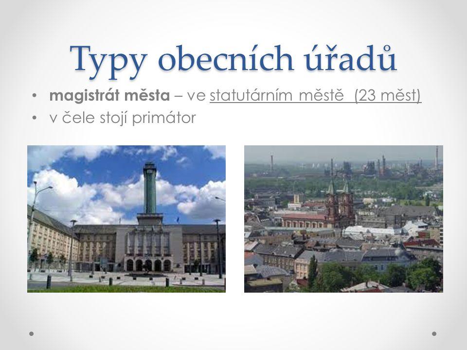 Typy obecních úřadů magistrát města – ve statutárním městě (23 měst) v čele stojí primátor