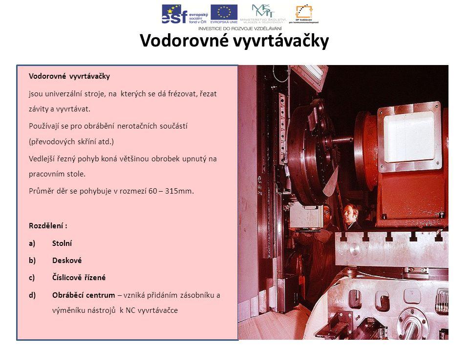 Vodorovné vyvrtávačky jsou univerzální stroje, na kterých se dá frézovat, řezat závity a vyvrtávat.