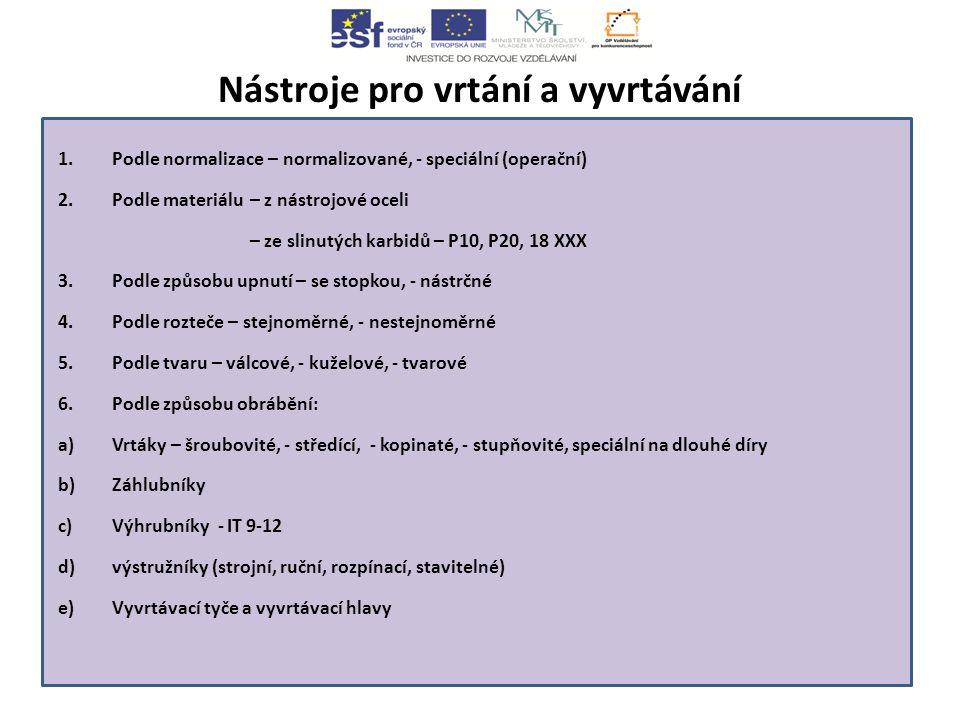 Nástroje pro vrtání a vyvrtávání 1.Podle normalizace – normalizované, - speciální (operační) 2.Podle materiálu– z nástrojové oceli – ze slinutých karbidů – P10, P20, 18 XXX 3.Podle způsobu upnutí – se stopkou, - nástrčné 4.Podle rozteče – stejnoměrné, - nestejnoměrné 5.Podle tvaru – válcové, - kuželové, - tvarové 6.Podle způsobu obrábění: a)Vrtáky – šroubovité, - středící, - kopinaté, - stupňovité, speciální na dlouhé díry b)Záhlubníky c)Výhrubníky - IT 9-12 d)výstružníky (strojní, ruční, rozpínací, stavitelné) e)Vyvrtávací tyče a vyvrtávací hlavy