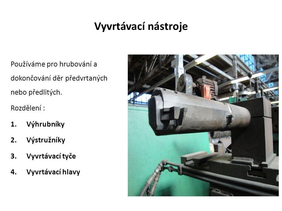 Vyvrtávací nástroje Používáme pro hrubování a dokončování děr předvrtaných nebo předlitých.