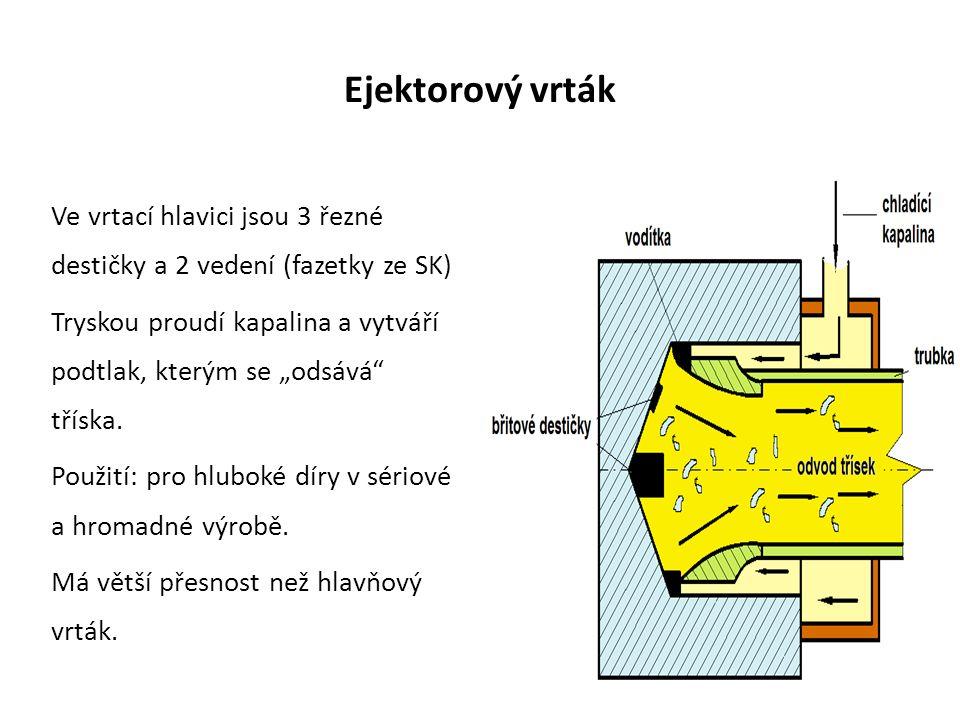 """Ejektorový vrták Ve vrtací hlavici jsou 3 řezné destičky a 2 vedení (fazetky ze SK) Tryskou proudí kapalina a vytváří podtlak, kterým se """"odsává tříska."""