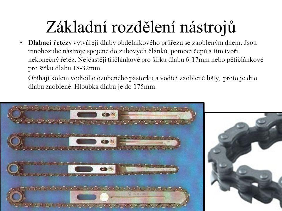 Základní rozdělení nástrojů Dlabací řetězy vytvářejí dlaby obdélníkového průřezu se zaobleným dnem.