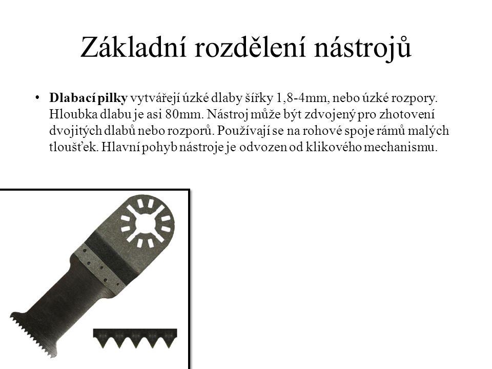 Základní rozdělení nástrojů Dlabací pilky vytvářejí úzké dlaby šířky 1,8-4mm, nebo úzké rozpory.