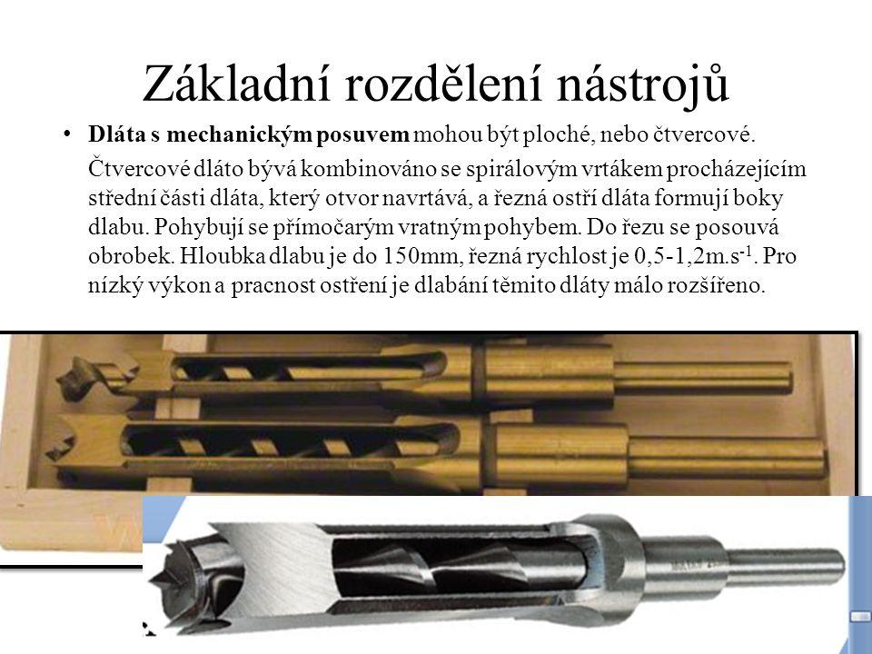 Základní rozdělení nástrojů Dláta s mechanickým posuvem mohou být ploché, nebo čtvercové.