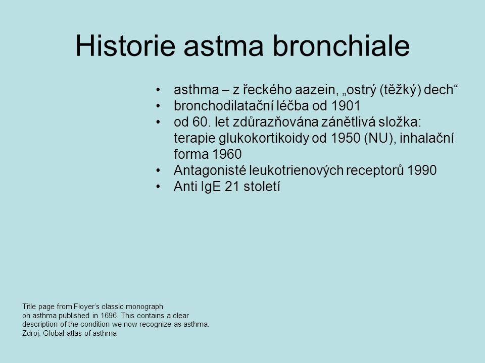 """Historie astma bronchiale asthma – z řeckého aazein, """"ostrý (těžký) dech"""" bronchodilatační léčba od 1901 od 60. let zdůrazňována zánětlivá složka: ter"""