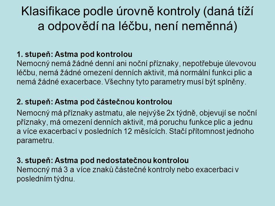 Klasifikace podle úrovně kontroly (daná tíží a odpovědí na léčbu, není neměnná) 1. stupeň: Astma pod kontrolou Nemocný nemá žádné denní ani noční příz