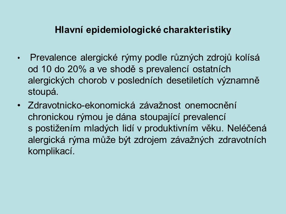 Hlavní epidemiologické charakteristiky Prevalence alergické rýmy podle různých zdrojů kolísá od 10 do 20% a ve shodě s prevalencí ostatních alergickýc
