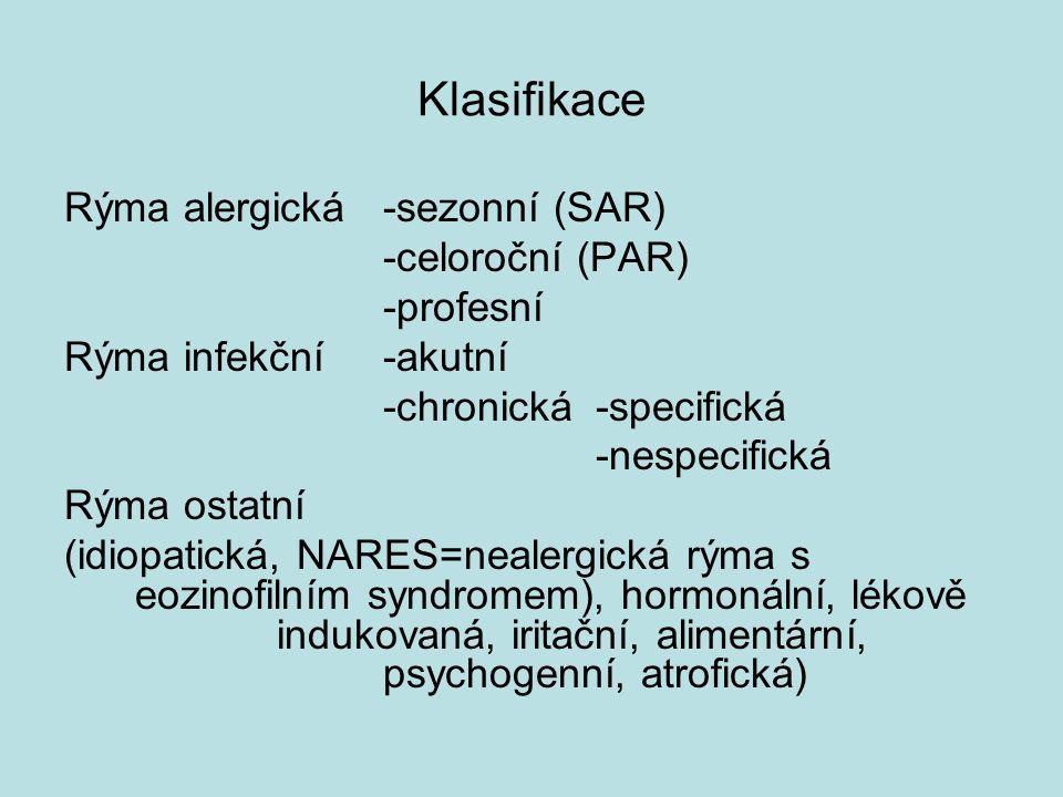 Klasifikace Rýma alergická -sezonní (SAR) -celoroční (PAR) -profesní Rýma infekční-akutní -chronická -specifická -nespecifická Rýma ostatní (idiopatická, NARES=nealergická rýma s eozinofilním syndromem), hormonální, lékově indukovaná, iritační, alimentární, psychogenní, atrofická)