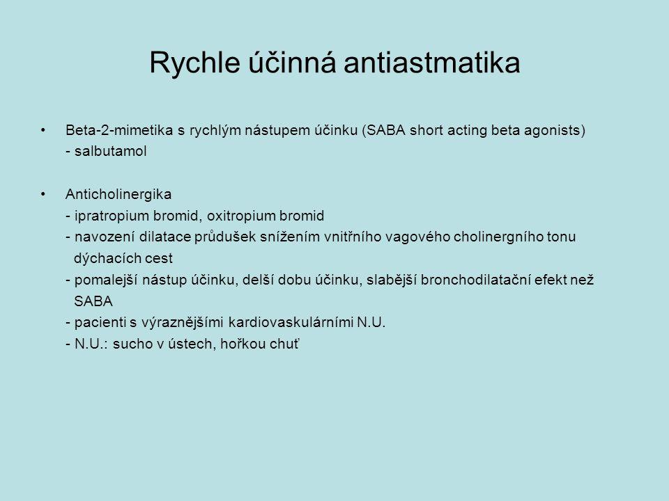 Rychle účinná antiastmatika Beta-2-mimetika s rychlým nástupem účinku (SABA short acting beta agonists) - salbutamol Anticholinergika - ipratropium bromid, oxitropium bromid - navození dilatace průdušek snížením vnitřního vagového cholinergního tonu dýchacích cest - pomalejší nástup účinku, delší dobu účinku, slabější bronchodilatační efekt než SABA - pacienti s výraznějšími kardiovaskulárními N.U.