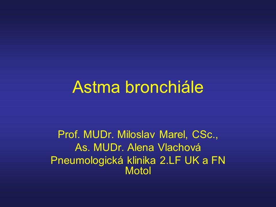 Astma bronchiale 1993- Glob.Initiativa proti astmatu ( GINA) 2006 nová verze GINA -klasifikace dle stupně kontroly -koncept Obtížně Léčitelného Astmatu (OLA) - ne Long Acting Beta Agonist (LABA)bez inhal.