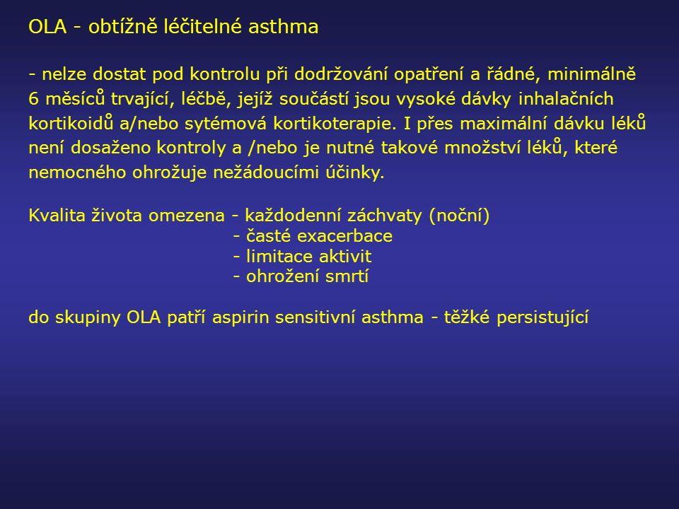 OLA - obtížně léčitelné asthma - nelze dostat pod kontrolu při dodržování opatření a řádné, minimálně 6 měsíců trvající, léčbě, jejíž součástí jsou vy