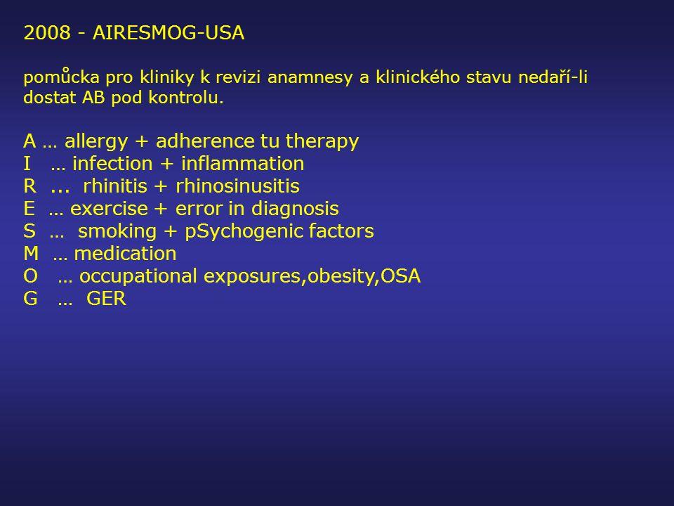 2008 - AIRESMOG-USA pomůcka pro kliniky k revizi anamnesy a klinického stavu nedaří-li dostat AB pod kontrolu. A … allergy + adherence tu therapy I …