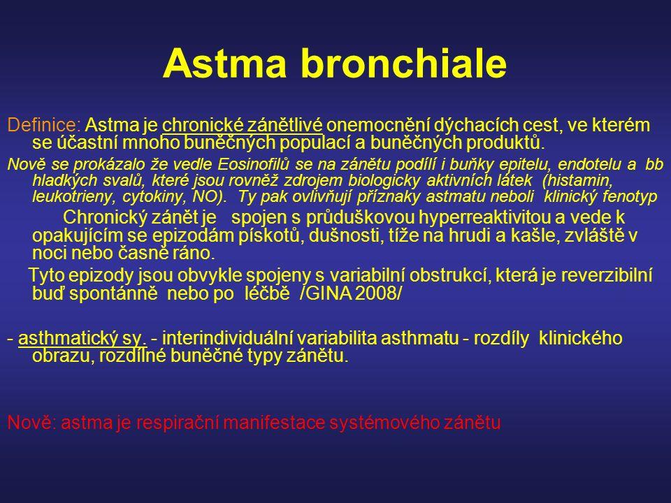 Astma bronchiale Definice: Astma je chronické zánětlivé onemocnění dýchacích cest, ve kterém se účastní mnoho buněčných populací a buněčných produktů.