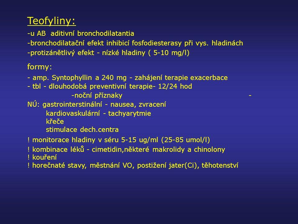Teofyliny: -u AB aditivní bronchodilatantia -bronchodilatační efekt inhibicí fosfodiesterasy při vys. hladinách -protizánětlivý efekt - nízké hladiny