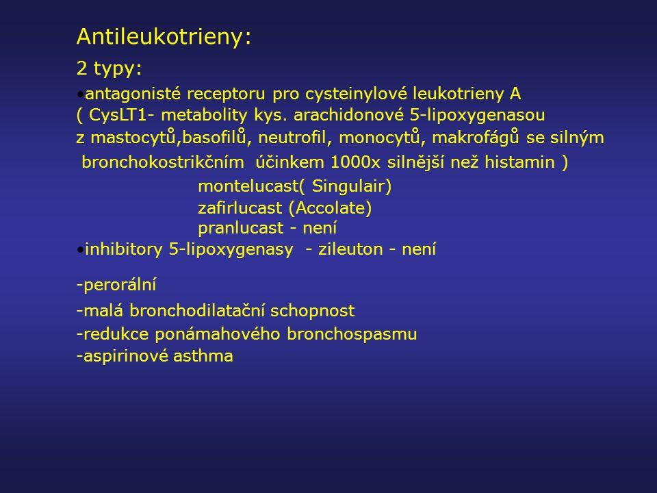 Antileukotrieny: 2 typy: antagonisté receptoru pro cysteinylové leukotrieny A ( CysLT1- metabolity kys. arachidonové 5-lipoxygenasou z mastocytů,basof