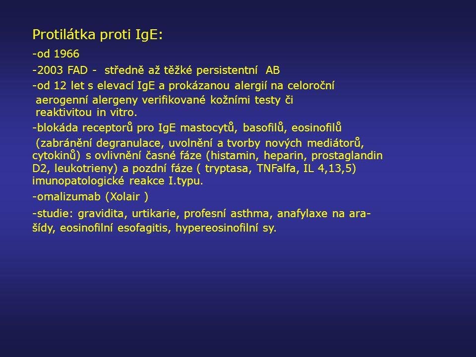 Protilátka proti IgE: -od 1966 -2003 FAD - středně až těžké persistentní AB -od 12 let s elevací IgE a prokázanou alergií na celoroční aerogenní alerg