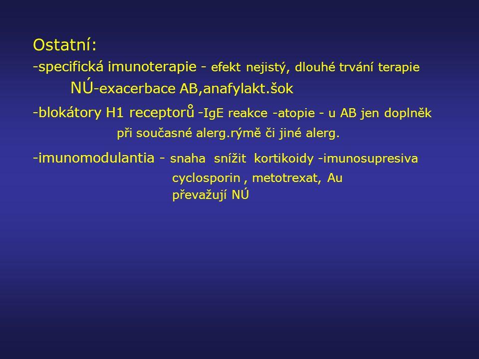 Ostatní: -specifická imunoterapie - efekt nejistý, dlouhé trvání terapie NÚ -exacerbace AB,anafylakt.šok -blokátory H1 receptorů - IgE reakce -atopie