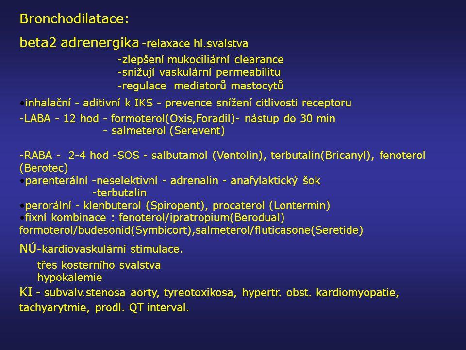 Bronchodilatace: beta2 adrenergika -relaxace hl.svalstva -zlepšení mukociliární clearance -snižují vaskulární permeabilitu -regulace mediatorů mastocy