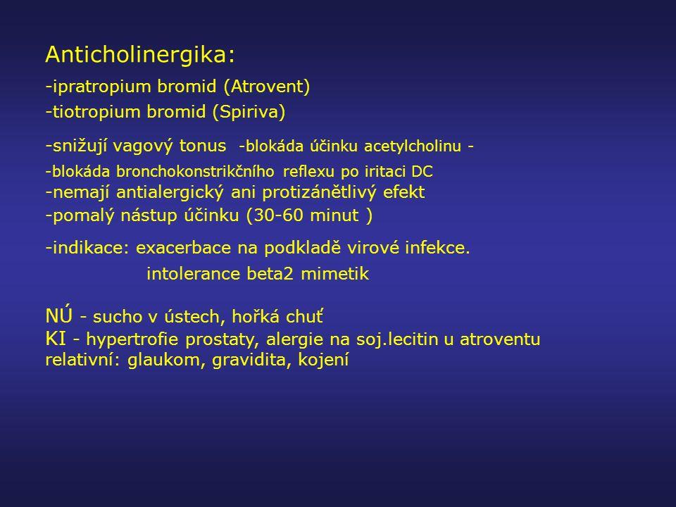 Anticholinergika: -ipratropium bromid (Atrovent) -tiotropium bromid (Spiriva) -snižují vagový tonus -blokáda účinku acetylcholinu - -blokáda bronchoko