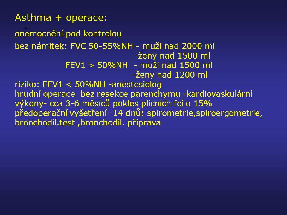Asthma + operace: onemocnění pod kontrolou bez námitek: FVC 50-55%NH - muži nad 2000 ml -ženy nad 1500 ml FEV1 > 50%NH - muži nad 1500 ml -ženy nad 12