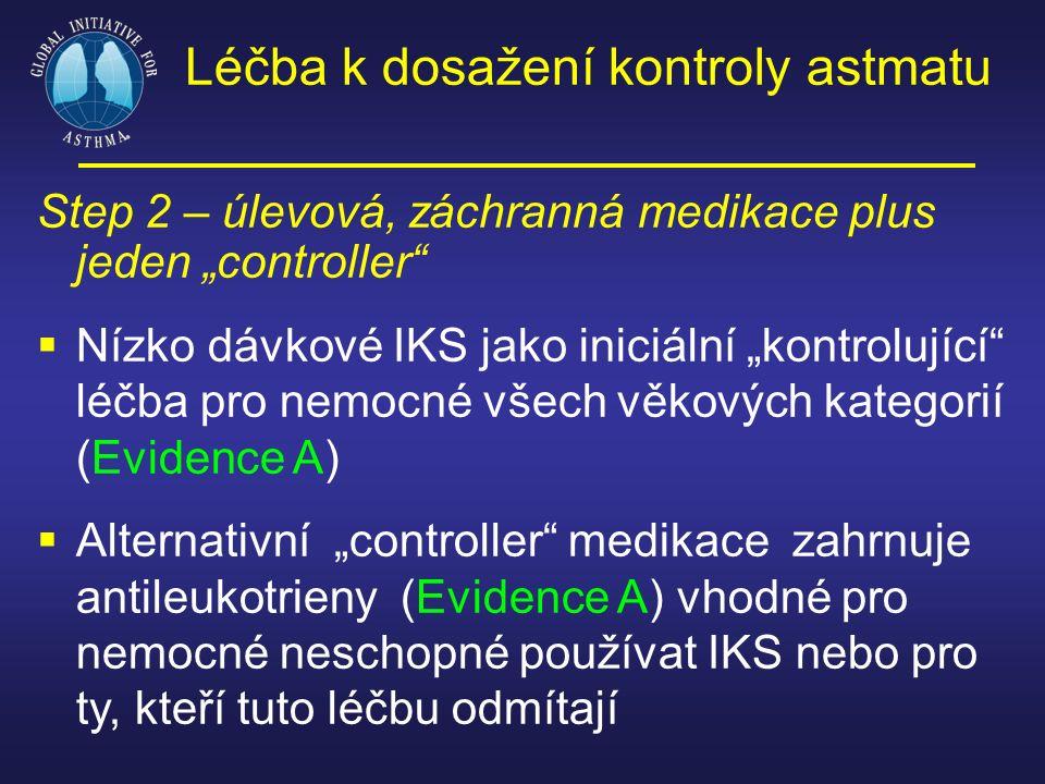 """Step 2 – úlevová, záchranná medikace plus jeden """"controller""""  Nízko dávkové IKS jako iniciální """"kontrolující"""" léčba pro nemocné všech věkových katego"""