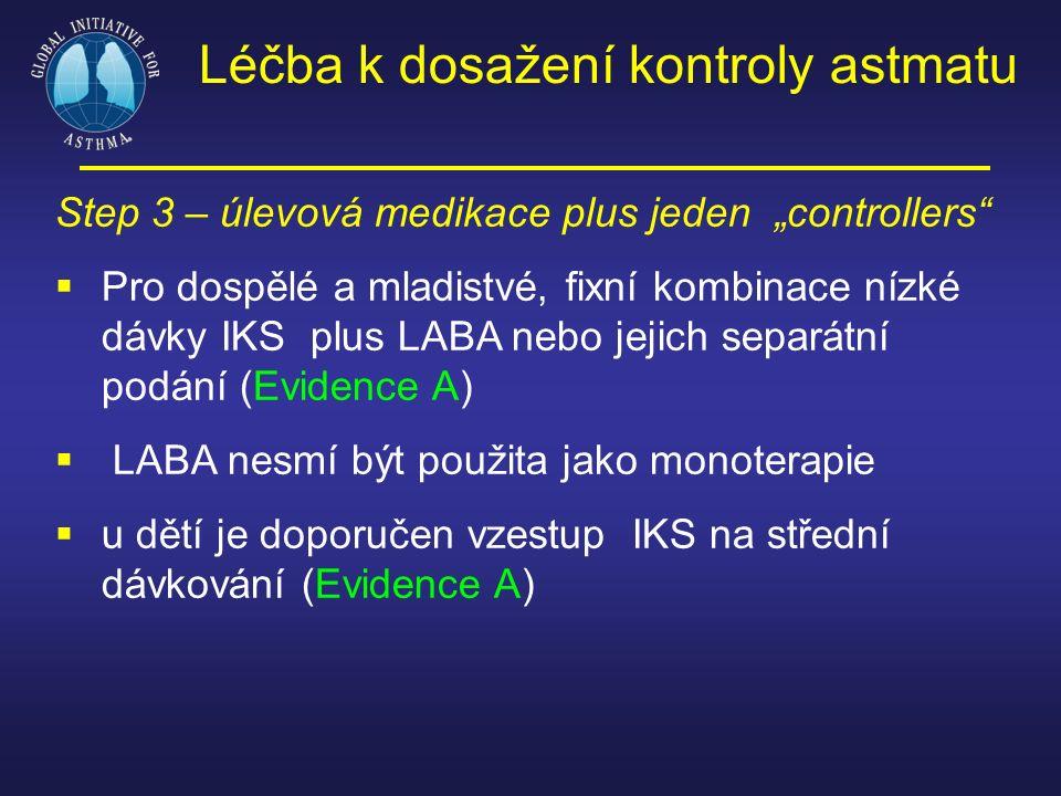 """Step 3 – úlevová medikace plus jeden """"controllers""""  Pro dospělé a mladistvé, fixní kombinace nízké dávky IKS plus LABA nebo jejich separátní podání ("""