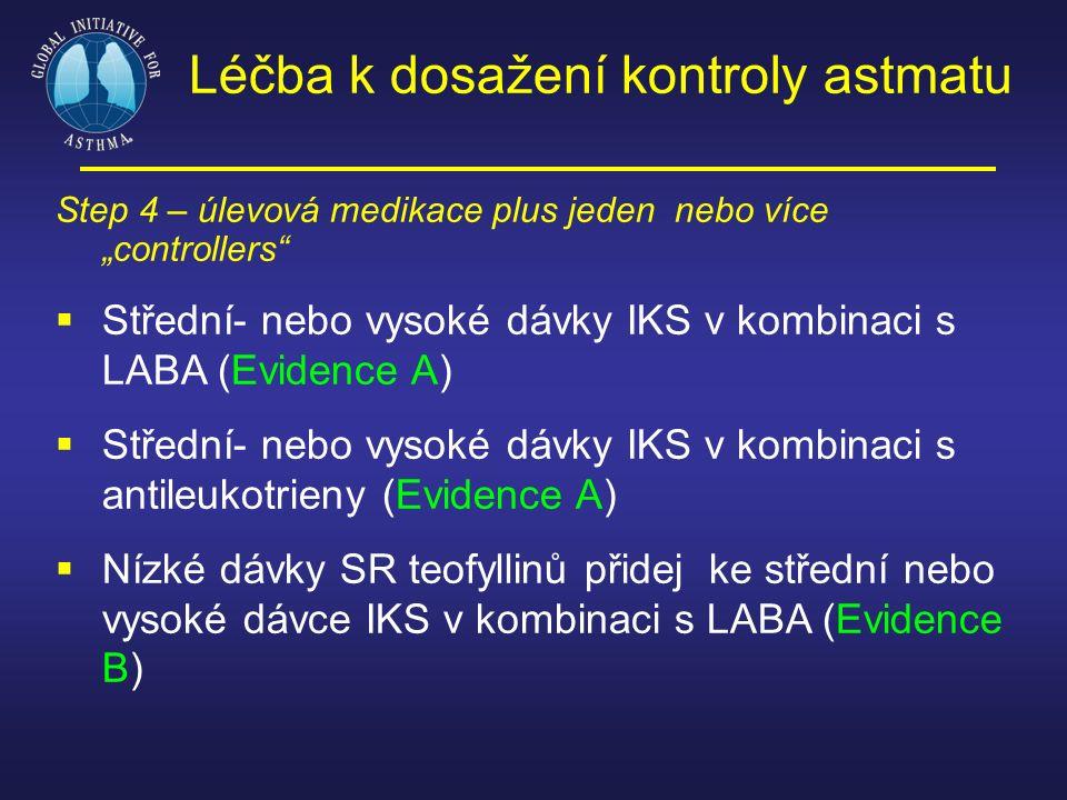 """Step 4 – úlevová medikace plus jeden nebo více """"controllers""""  Střední- nebo vysoké dávky IKS v kombinaci s LABA (Evidence A)  Střední- nebo vysoké d"""