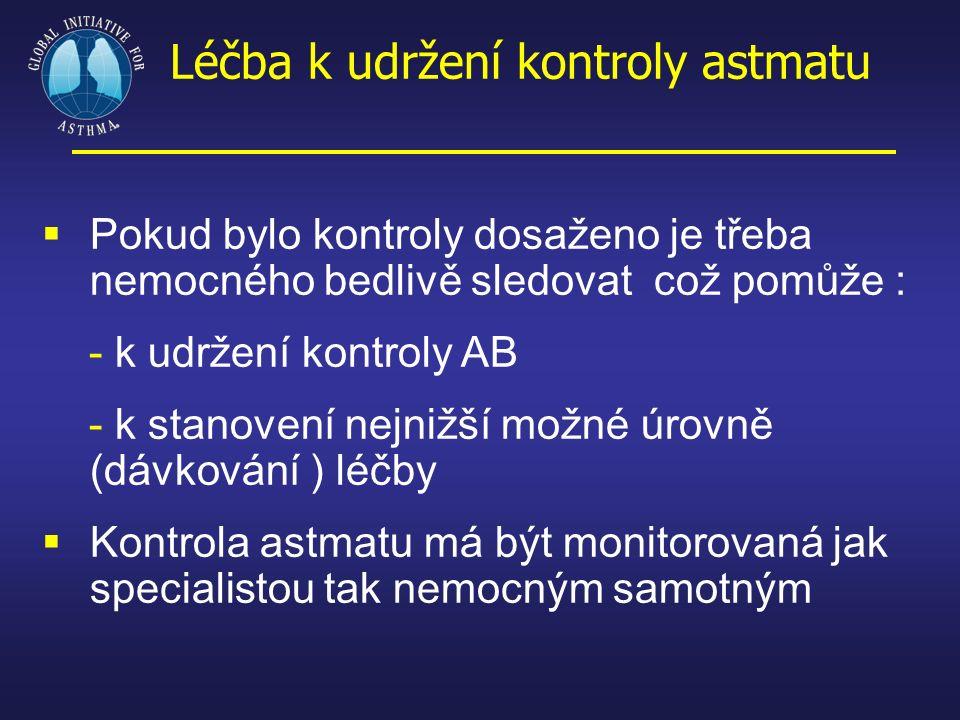 Léčba k udržení kontroly astmatu  Pokud bylo kontroly dosaženo je třeba nemocného bedlivě sledovat což pomůže : - k udržení kontroly AB - k stanovení