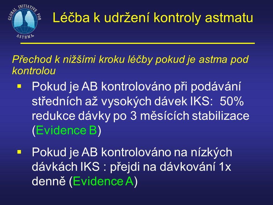 Léčba k udržení kontroly astmatu Přechod k nižšími kroku léčby pokud je astma pod kontrolou  Pokud je AB kontrolováno při podávání středních až vysok