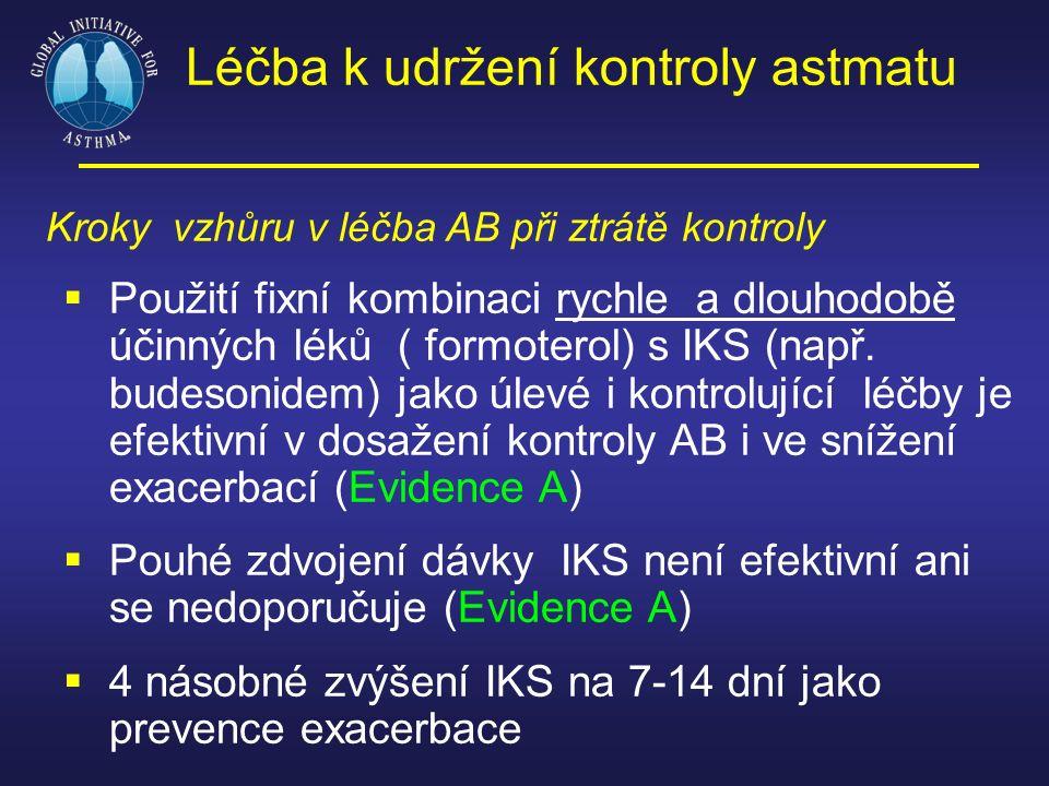 Léčba k udržení kontroly astmatu Kroky vzhůru v léčba AB při ztrátě kontroly  Použití fixní kombinaci rychle a dlouhodobě účinných léků ( formoterol)