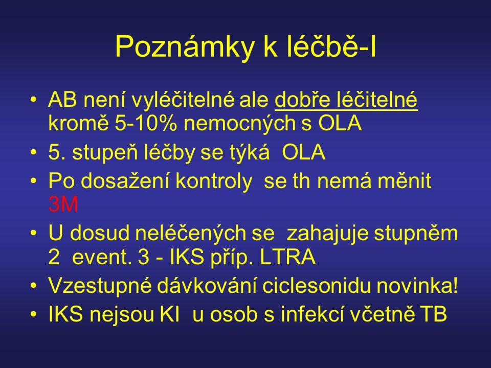 Poznámky k léčbě-I AB není vyléčitelné ale dobře léčitelné kromě 5-10% nemocných s OLA 5. stupeň léčby se týká OLA Po dosažení kontroly se th nemá měn