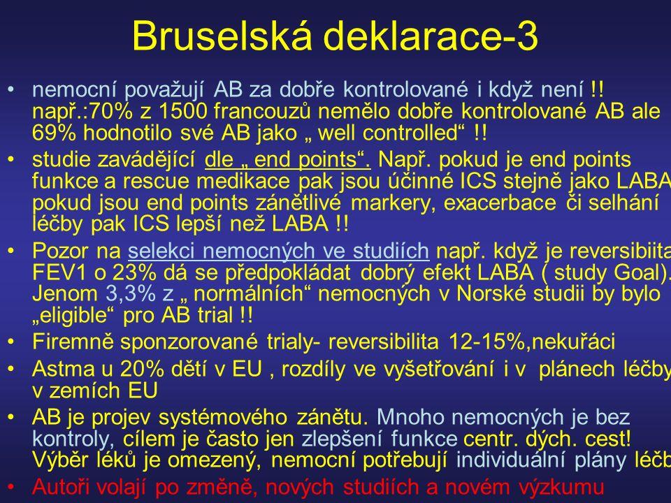 Bruselská deklarace-3 nemocní považují AB za dobře kontrolované i když není !! např.:70% z 1500 francouzů nemělo dobře kontrolované AB ale 69% hodnoti