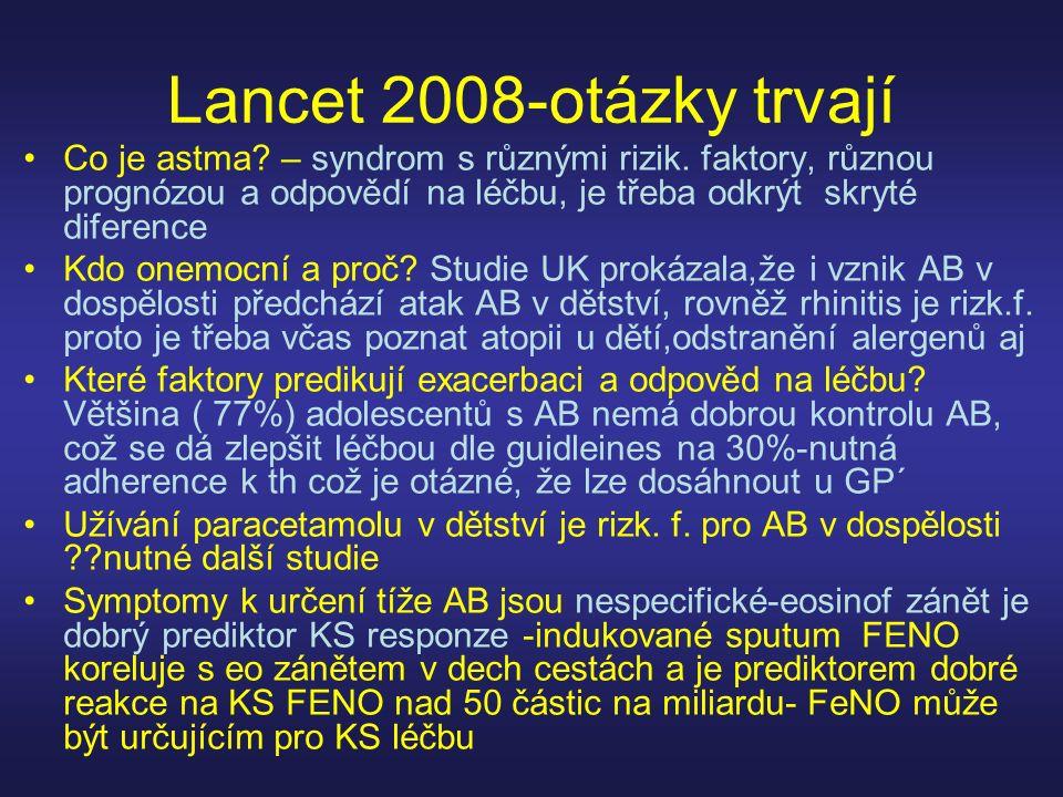 Lancet 2008-otázky trvají Co je astma? – syndrom s různými rizik. faktory, různou prognózou a odpovědí na léčbu, je třeba odkrýt skryté diference Kdo