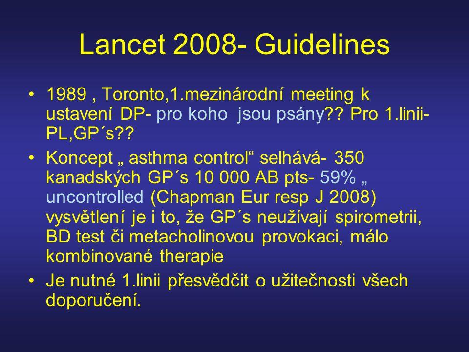 """Lancet 2008- Guidelines 1989, Toronto,1.mezinárodní meeting k ustavení DP- pro koho jsou psány?? Pro 1.linii- PL,GP´s?? Koncept """" asthma control"""" selh"""