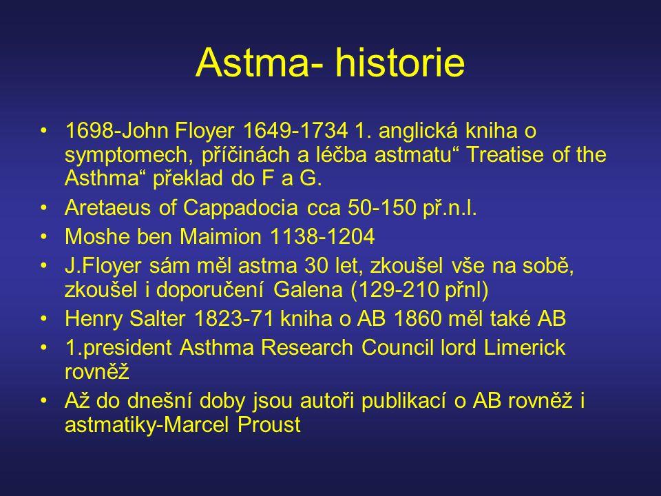 """Astma- historie 1698-John Floyer 1649-1734 1. anglická kniha o symptomech, příčinách a léčba astmatu"""" Treatise of the Asthma"""" překlad do F a G. Aretae"""