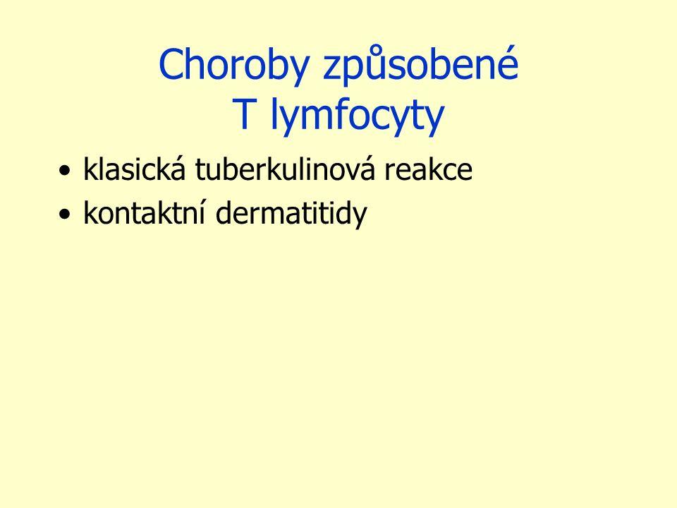 Choroby způsobené T lymfocyty klasická tuberkulinová reakce kontaktní dermatitidy