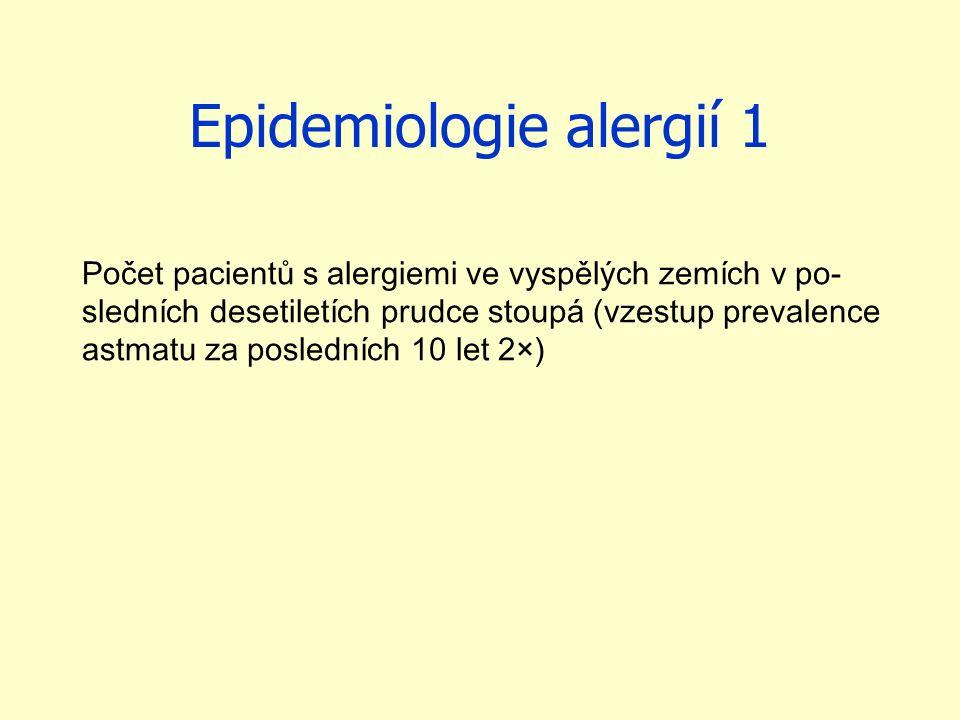 Epidemiologie alergií 1 Počet pacientů s alergiemi ve vyspělých zemích v po- sledních desetiletích prudce stoupá (vzestup prevalence astmatu za posled