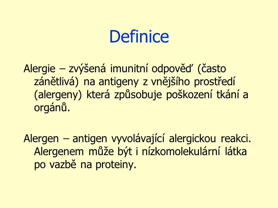Definice Alergie – zvýšená imunitní odpověď (často zánětlivá) na antigeny z vnějšího prostředí (alergeny) která způsobuje poškození tkání a orgánů. Al