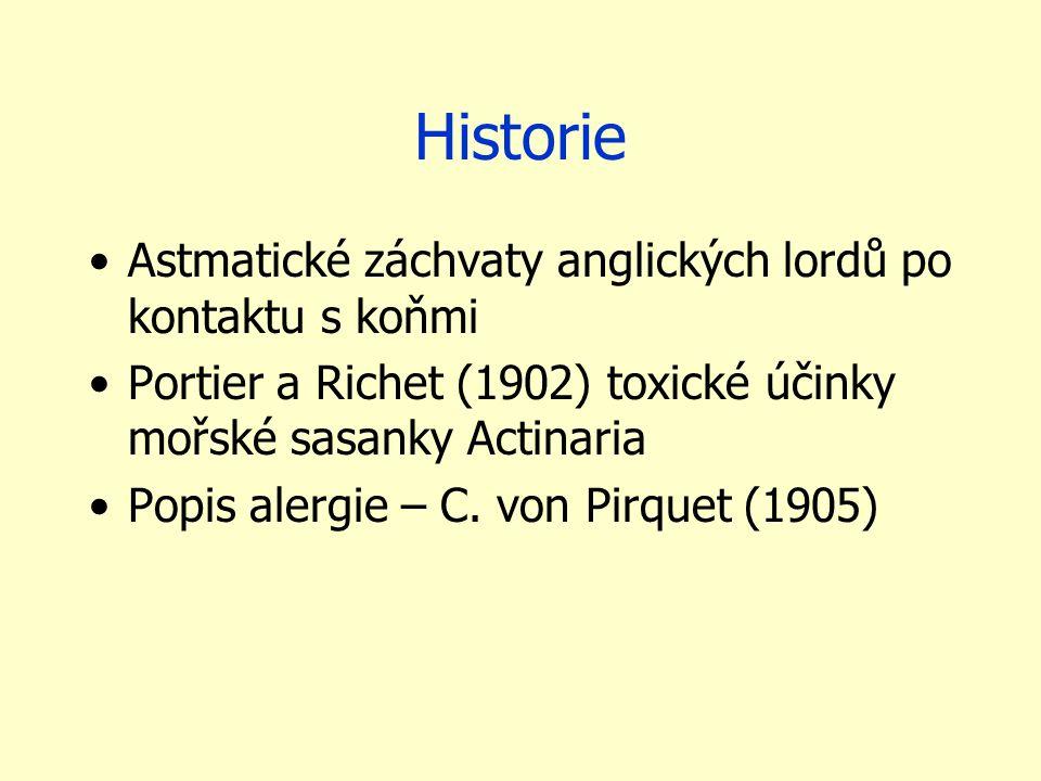 Historie Astmatické záchvaty anglických lordů po kontaktu s koňmi Portier a Richet (1902) toxické účinky mořské sasanky Actinaria Popis alergie – C. v