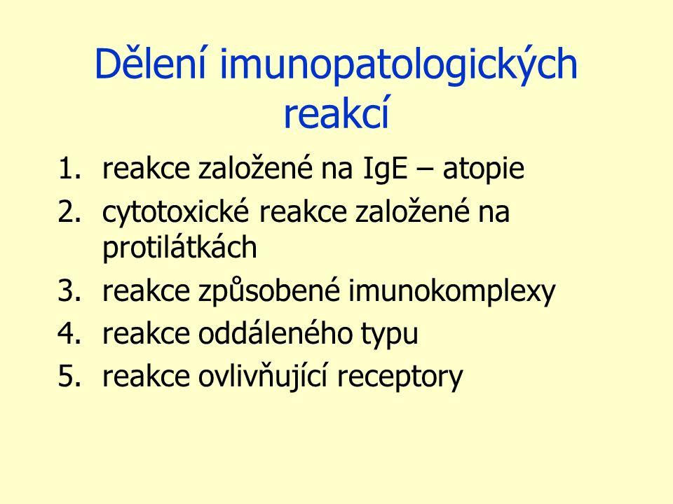 Dělení imunopatologických reakcí 1.reakce založené na IgE – atopie 2.cytotoxické reakce založené na protilátkách 3.reakce způsobené imunokomplexy 4.re