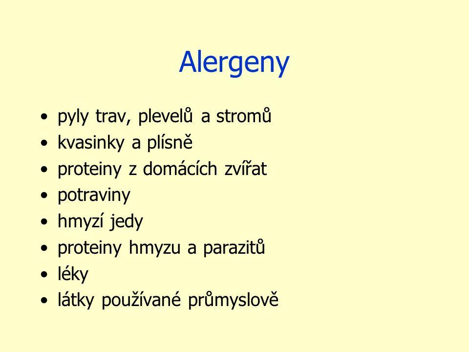 Alergeny pyly trav, plevelů a stromů kvasinky a plísně proteiny z domácích zvířat potraviny hmyzí jedy proteiny hmyzu a parazitů léky látky používané