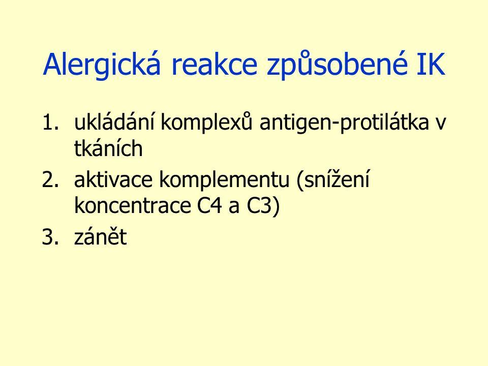 Alergická reakce způsobené IK 1.ukládání komplexů antigen-protilátka v tkáních 2.aktivace komplementu (snížení koncentrace C4 a C3) 3.zánět
